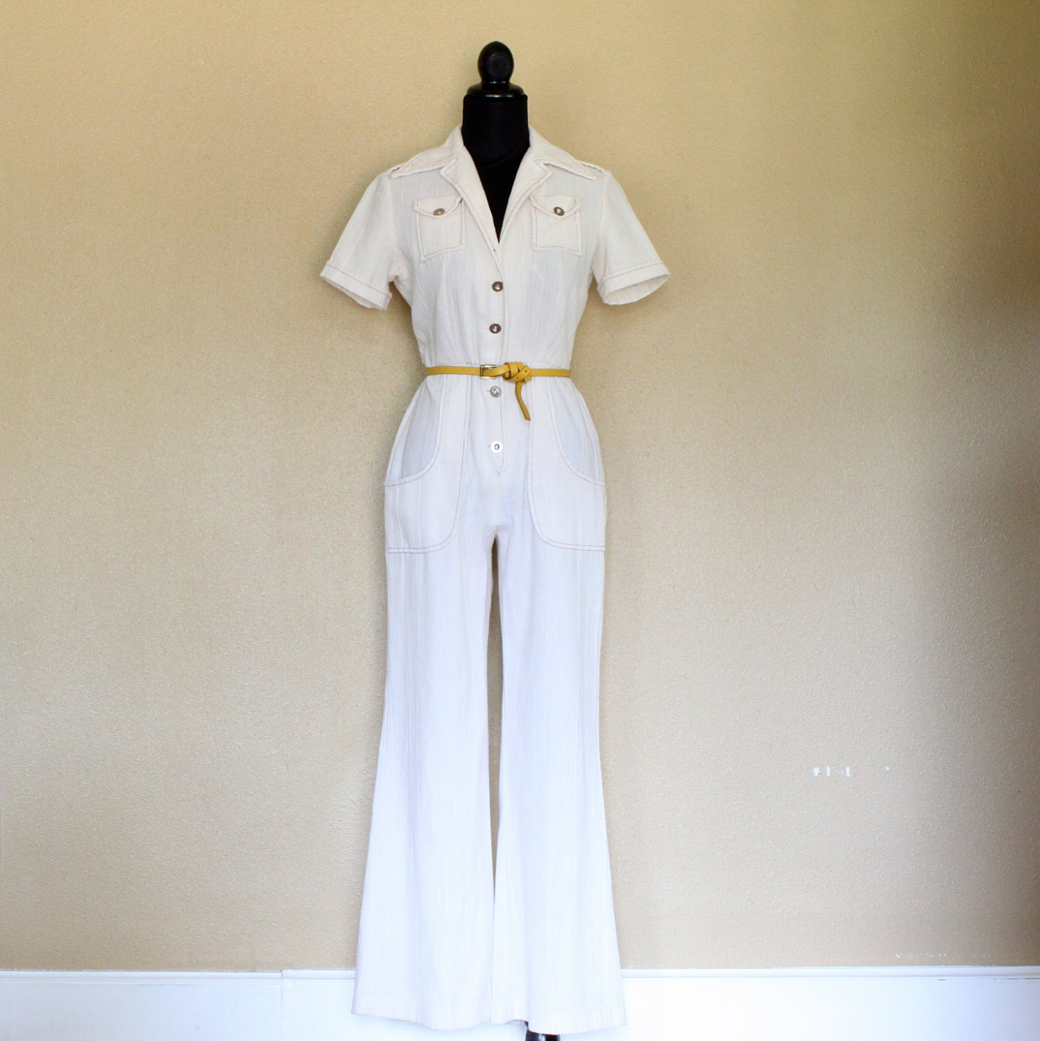 70s white jumpsuit