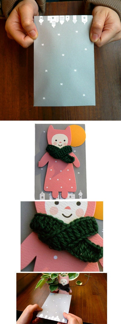 HANDMADE SCARF Merry Card (pink, bottle-green)