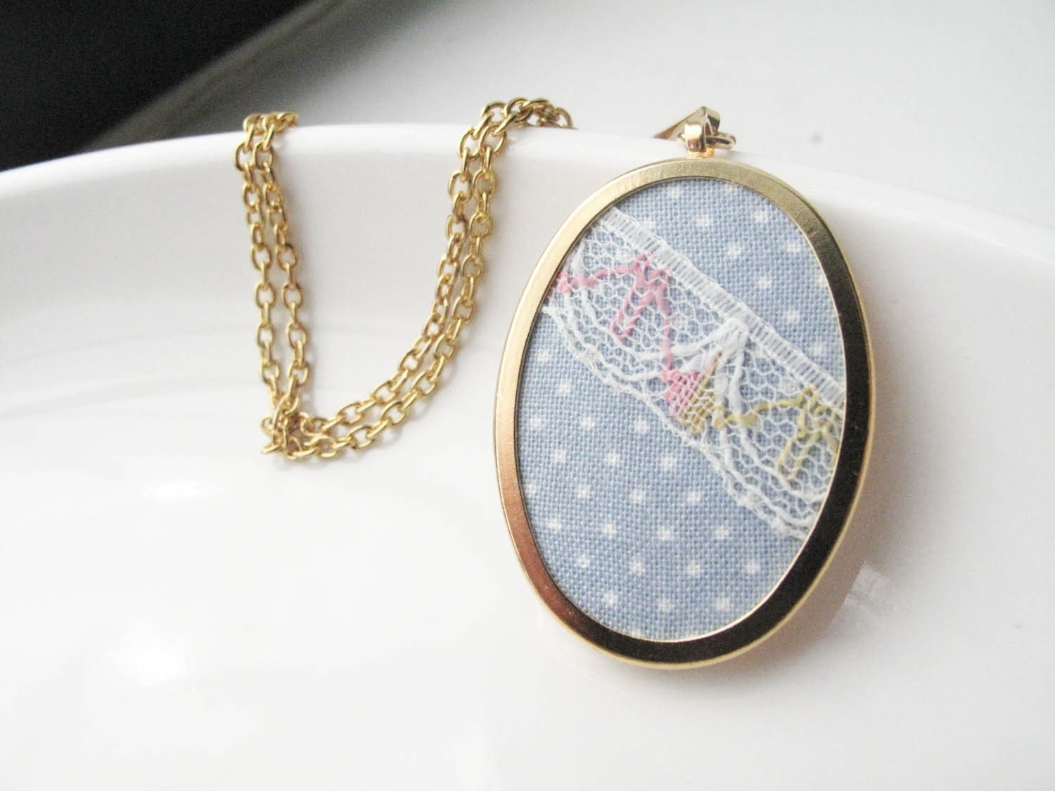 Easter Egg Necklace in Cotton Fabric and Gold