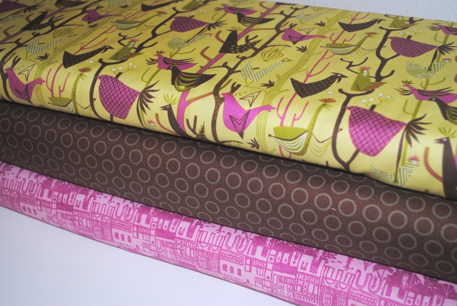 Grand Tour Venice, Birds and Brown Cheery Dots 1 Yard set of 3