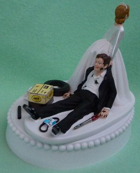 Wedding Cake Topper Auto Mechanic Grease Monkey Racing By