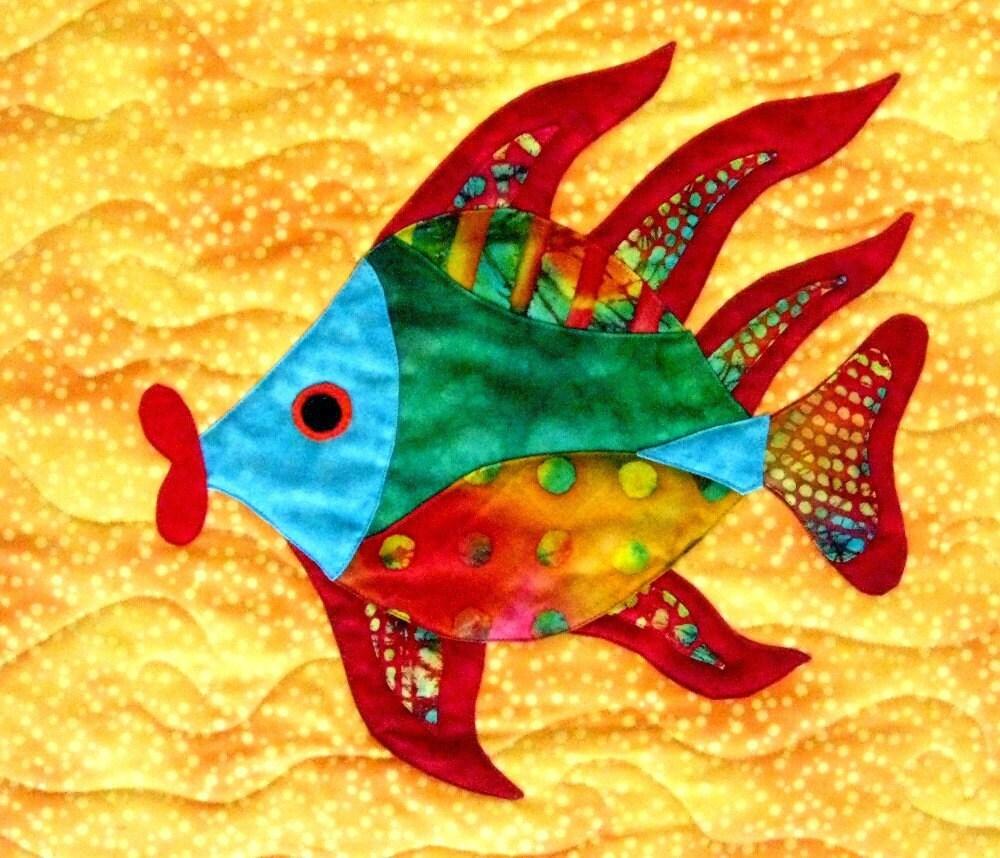 Wall art quilt tropical fish lips wall hanging batik by for Fish wall hanging