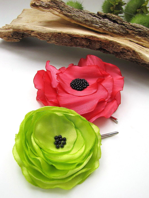 Ручной заколками с тканью цветы (2 шт) - Букет из маков WILD