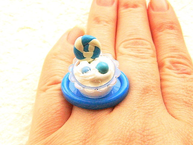 Kawaii Ring Miniature Food Ice Cream  Miniature Food Jewelry