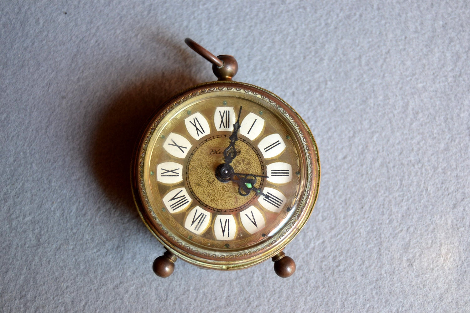 Daylight Savings SALE-Antique Miniature Alarm Clock old, German, - Limbhad
