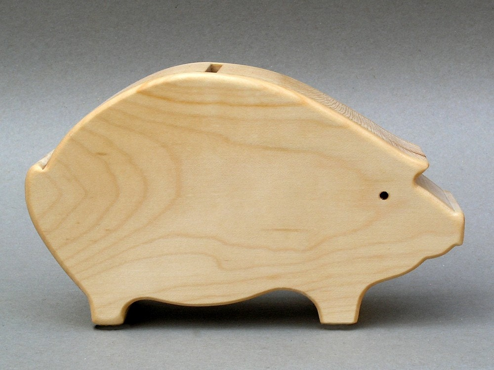 Coin Piggy Bank Savings Bank For Children Wooden By