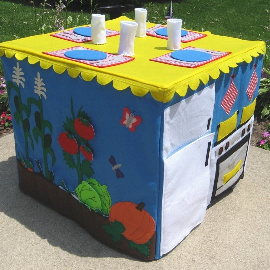 Custom Order Personalized Pickable Flowers Royal Blue Double Delight Kids Card Table Playhouse Fits Your Card Table