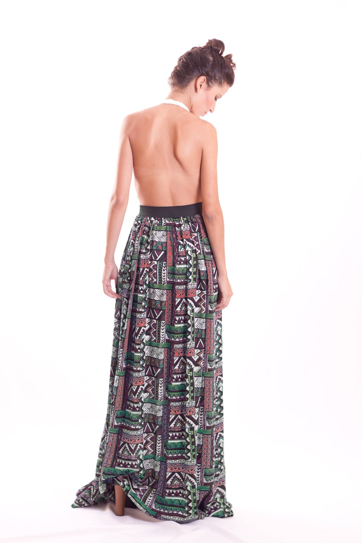 tribal print maxi skirt by fashionmeme on etsy