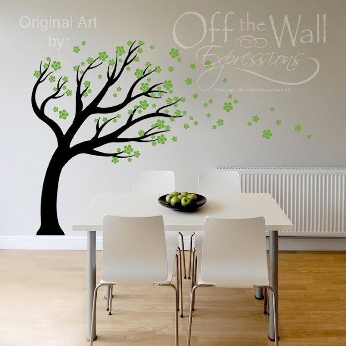 Vinyl Wall Mural  Large Blowing Cherry Blossom Tree