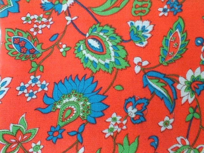 BRIGHT print PAISLEY fabric 4 yards Acrylic or Cotton blend very bright BRITE