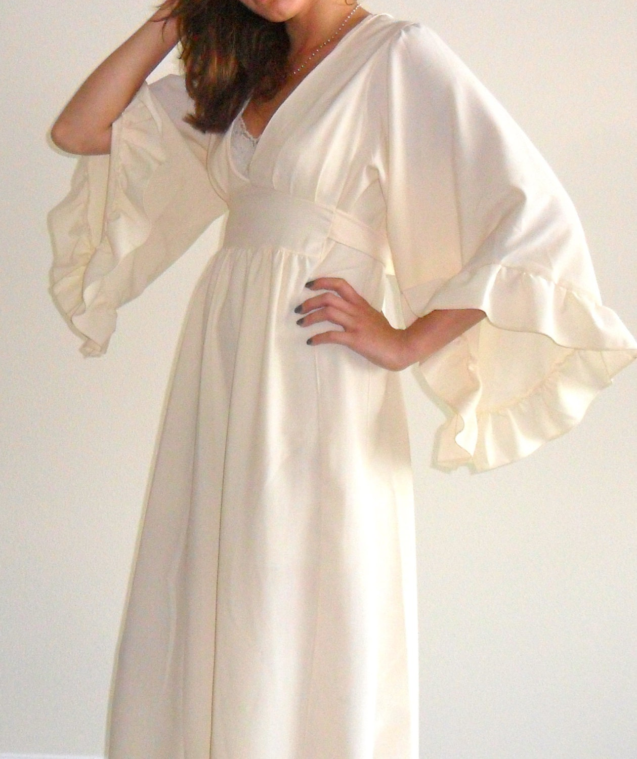 Bohemian Hippie Wedding inspired Cream-colored Maxi Prarie Dress
