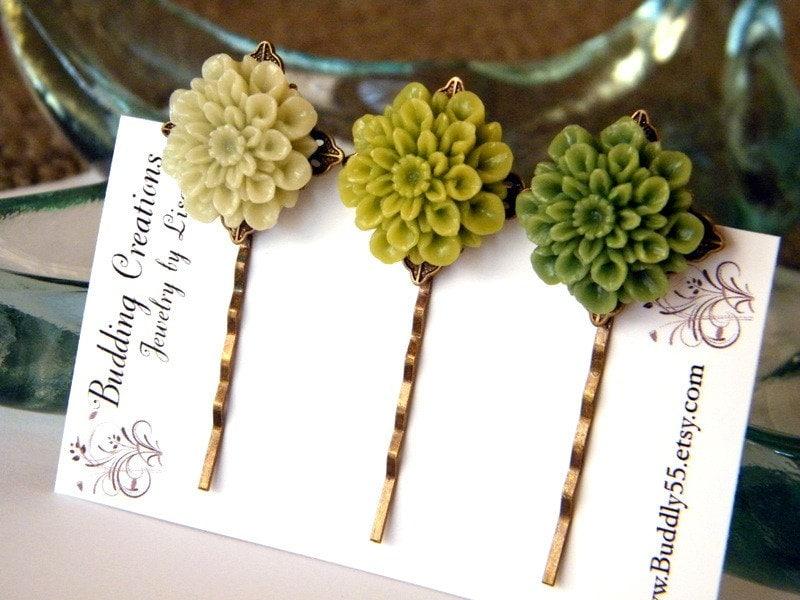 Shades of Green Flowers, Hair Pins Set of Three