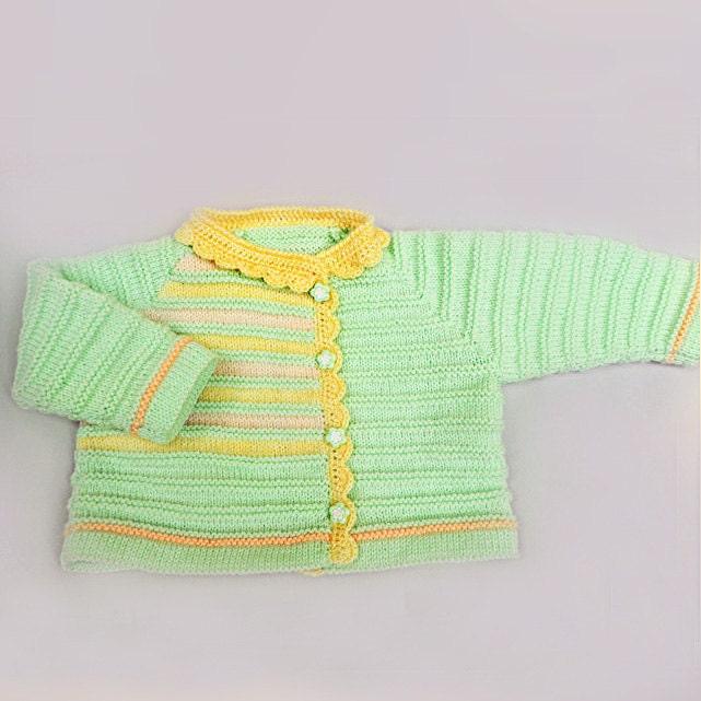 دستی بافتنی ژاکت کش باف پشمی کودک در رنگ های نرم و با سمت دکمههای -- آماده به کشتی
