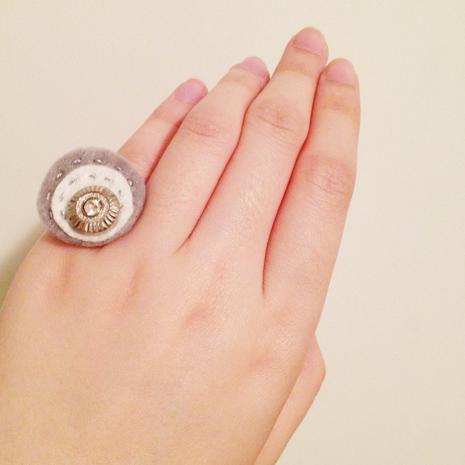 Circle Gray Felt Vintage Button Ring Stitched with Silver Thread, Adjustable Ring, Small Finger Ring, Xmas Gift, Christmas Gift