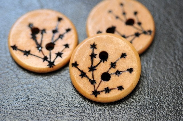 Cherry Blossom Wooden Buttons Woodburning by LiDDesignsSupplies from etsy.com