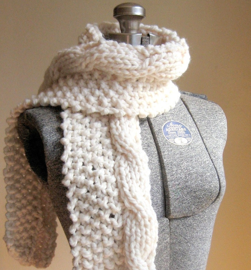 Free Knitting Pattern Chunky Cable Scarf : Etsy - Your place to buy and sell all things handmade, vintage, and supplies