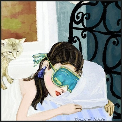 Hello Summer SALE price Breakfast at Tiffanys ...Holly Golightly gets her beauty sleep ... starring Audrey Hepburn ... limited edition print