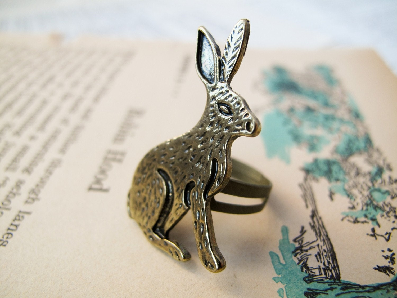 Brass rabbit ring