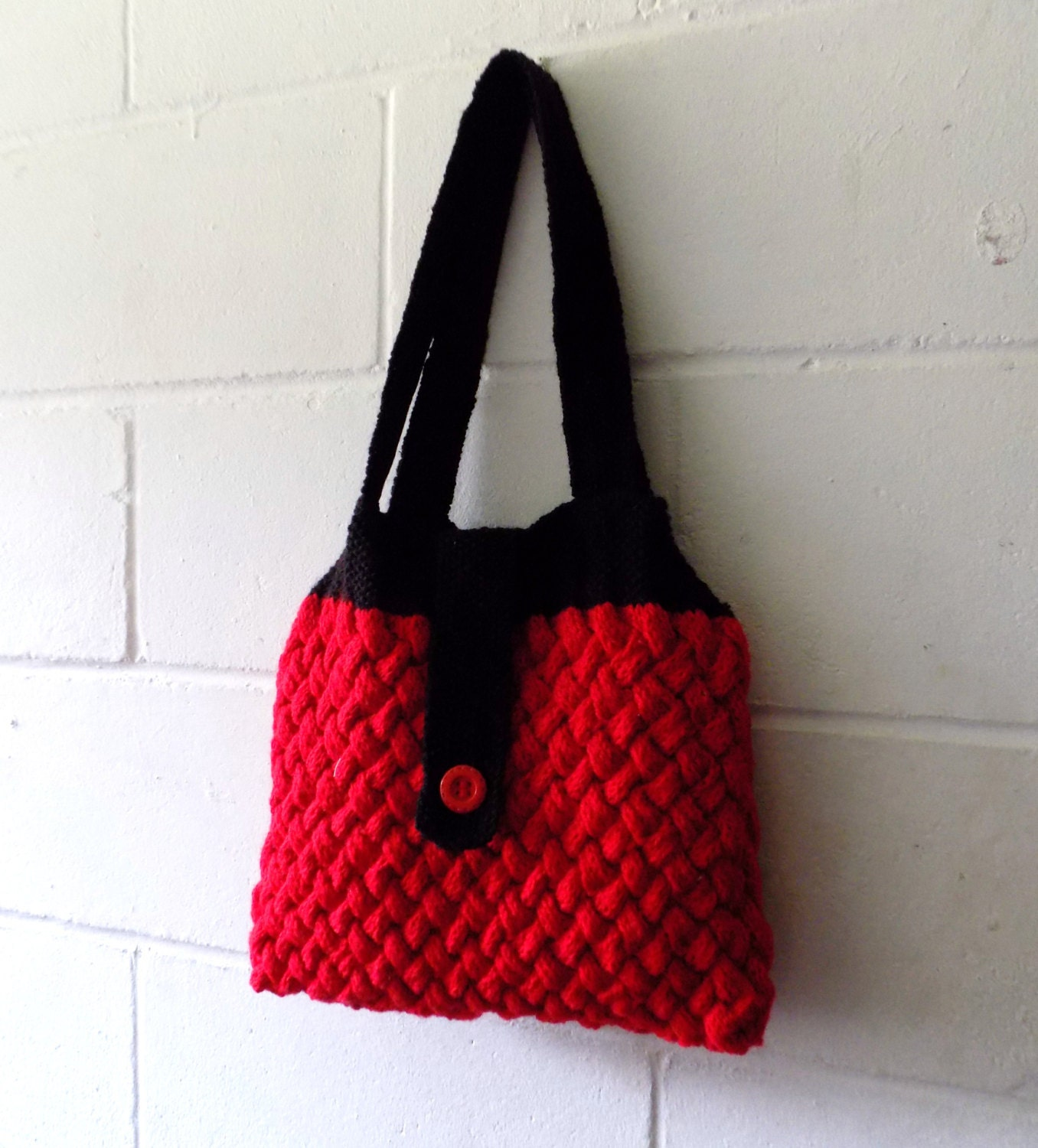 Hand Knitted Bag Red and Black Cable Knit Handbag Knitted Purse