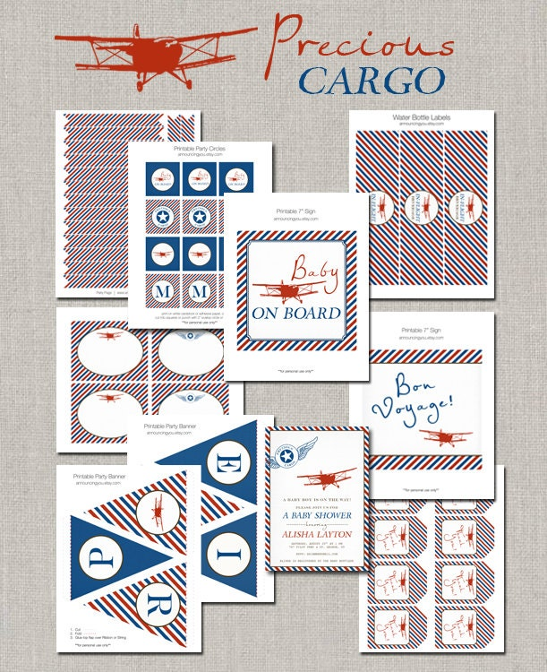 Airplane Birthday Invitation Diy Printable By Vindee On Etsy: Precious Cargo Vintage Airplane Party Collection By