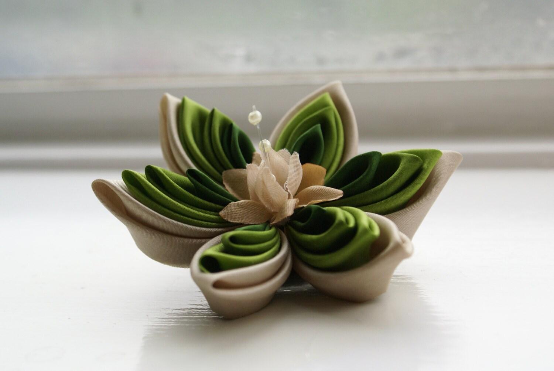 Green Silk Flower Brooch Pin: Green Ombre Kanzashi Flower Corsage in Chartreuse Green - Green Brooch - Women's Accessories - Jewelry - cuttlefishlove