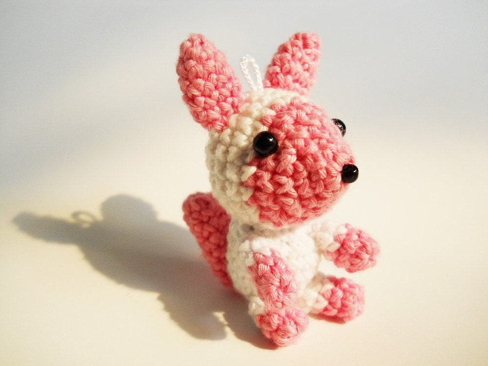 Cherry, the sweet squirrels, crochet miniature charm-collectible toy, custom made