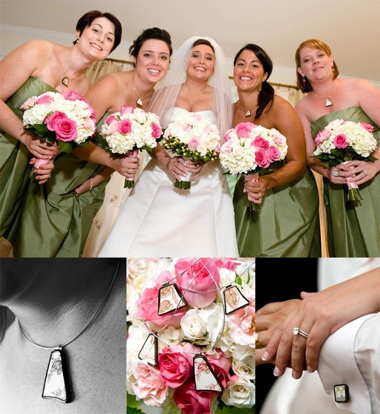 Custom Matching Broken Plate Pendants for 4 Bridesmaids
