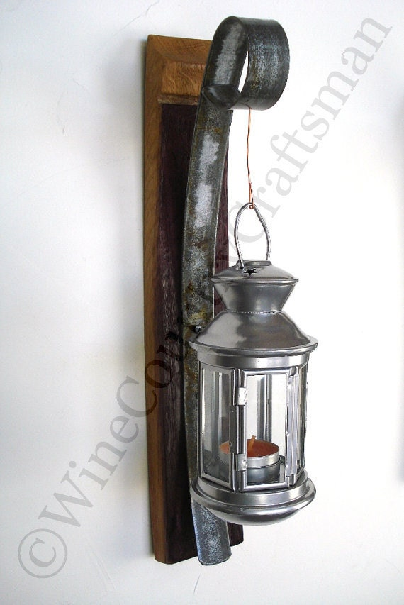 Wall Lantern Etsy : Wall Hanging Candle Holder with Lantern by winecountrycraftsman