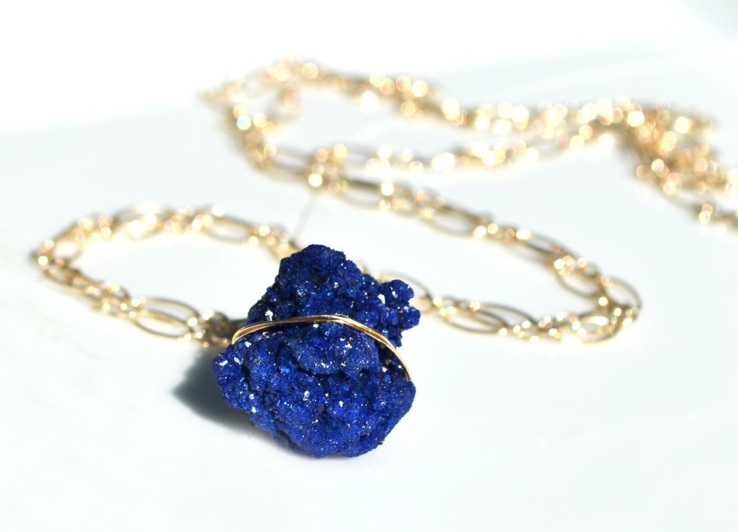 Moroccan Blue Azurite Crystal Cluster Necklace -- Raw Blue Druzy Stone -- In 14k Yellow Gold, Rose Gold, or Sterling Silver - PURYST