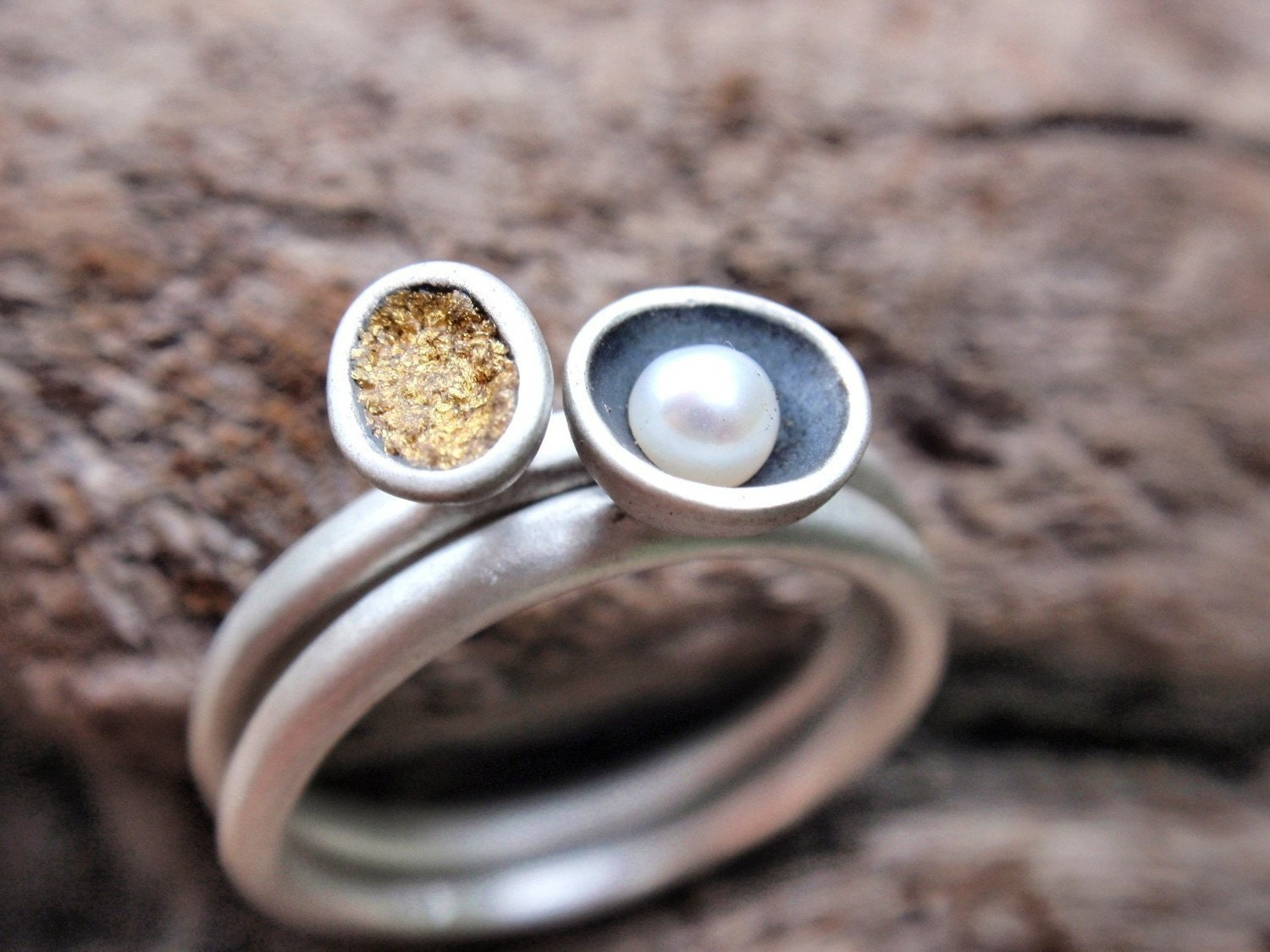 sterling silver stacking rings - set of 2 - made to order