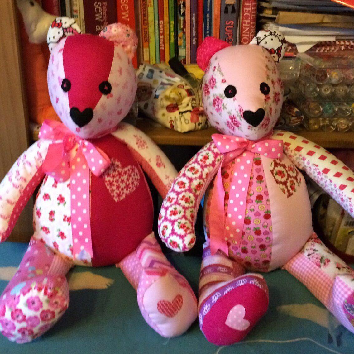 Stuffed Bear gift handmade Patchwork bear soft toy vanu shower gift childs gift idea You Choose Colour Schem Gift idea home decor.