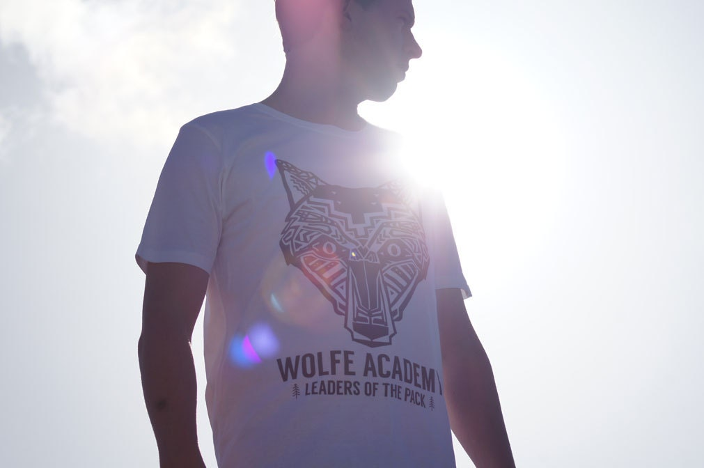 Organic Cotton Screen Printed Tshirt  Aztec Wolf