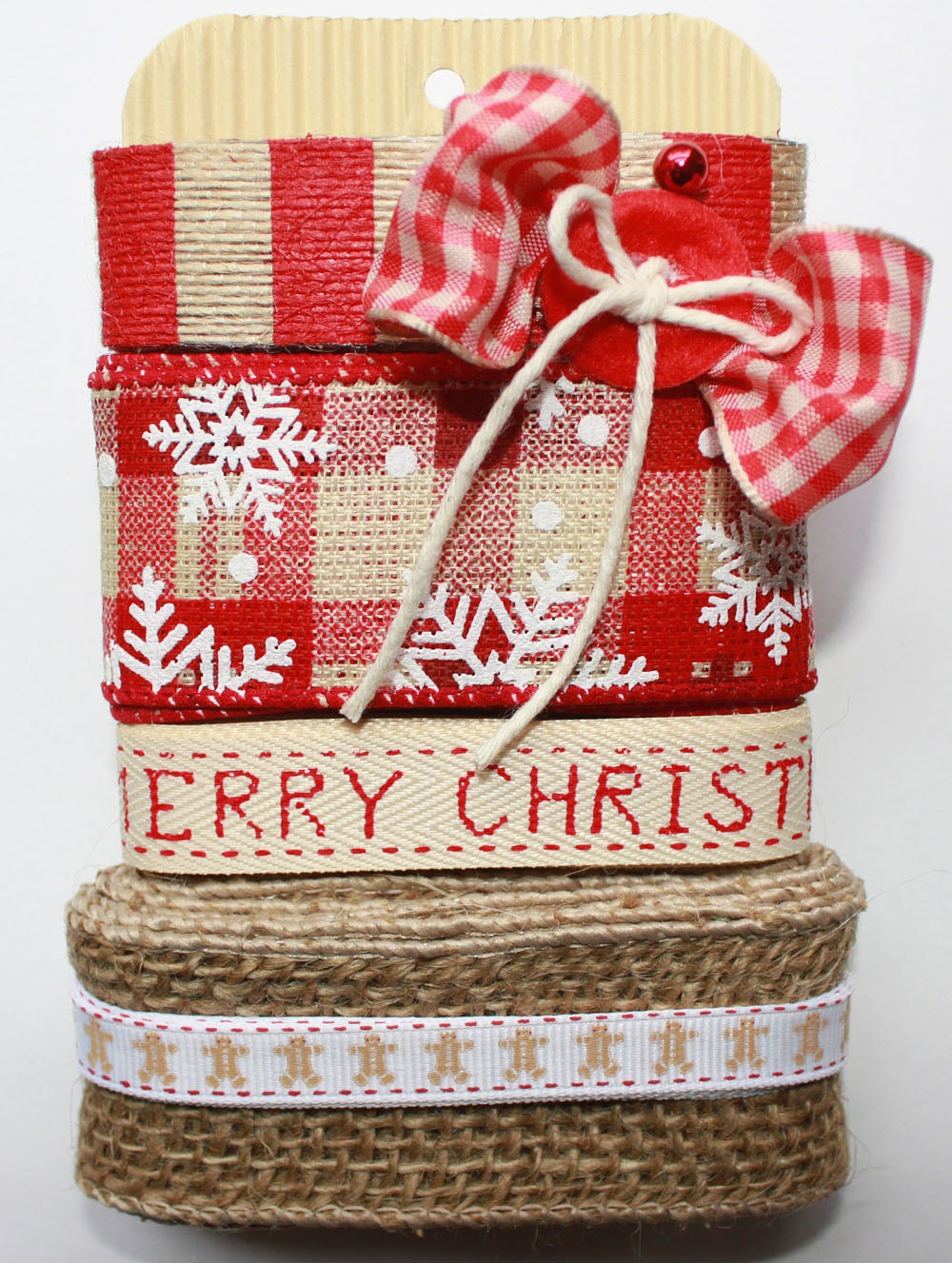 Treasury Item Rustic Christmas Ribbon Trim Pack Red and Tan - ScrappyBird