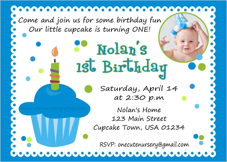 One Cute Nursery Sweet Little Cupcake Boy Birthday Babys First – Baby First Birthday Card