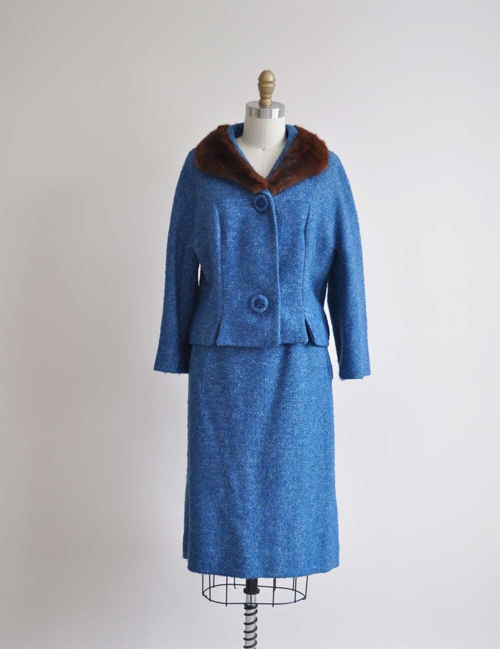 Vintage 60s SLATE Tweed Suit
