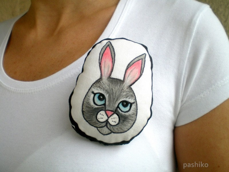 Hand Painted Gray Bunny Brooch, Animal Art Doll, Soft Plush