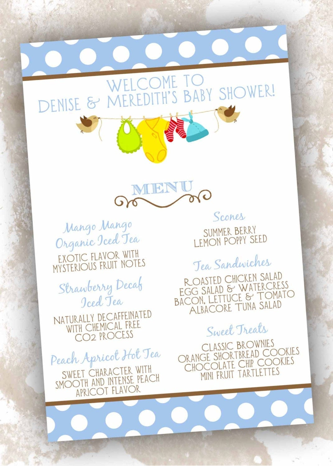 Baby Shower Lunch Menu ~ Baby shower menu cards clothesline theme count by