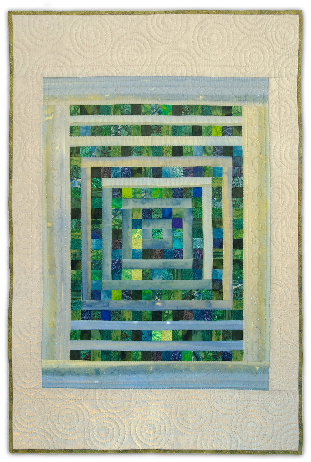 Art Quilt, Original, Hand Quilted, The Rainy Garden Window - HeatherLairDesigns