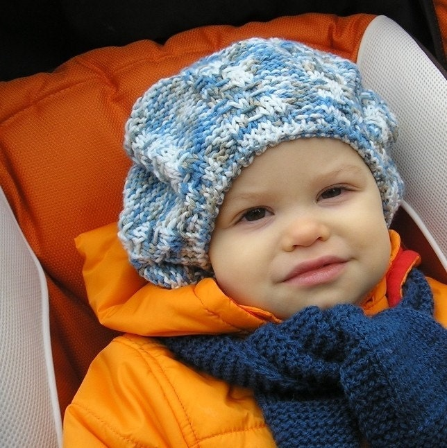 Knitting Pattern For Toddler Beret : Knitting PATTERN Baby BERET Colour mixed size by ...