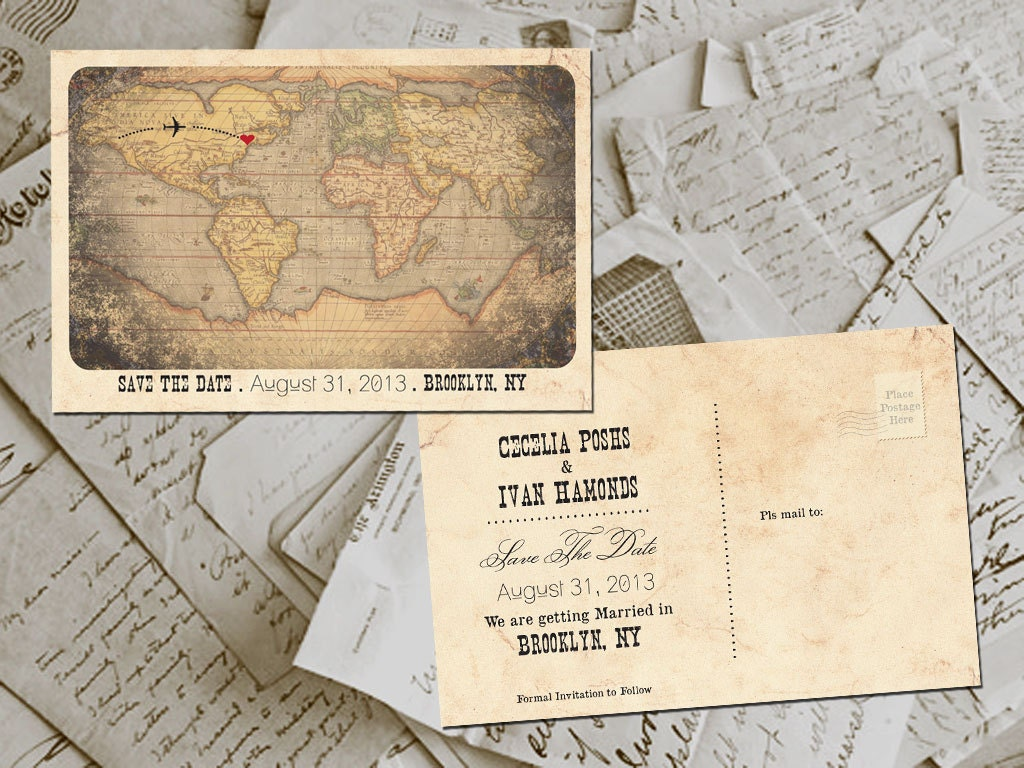 50 Wedding Save The Date Cards Destination By FifthVintage