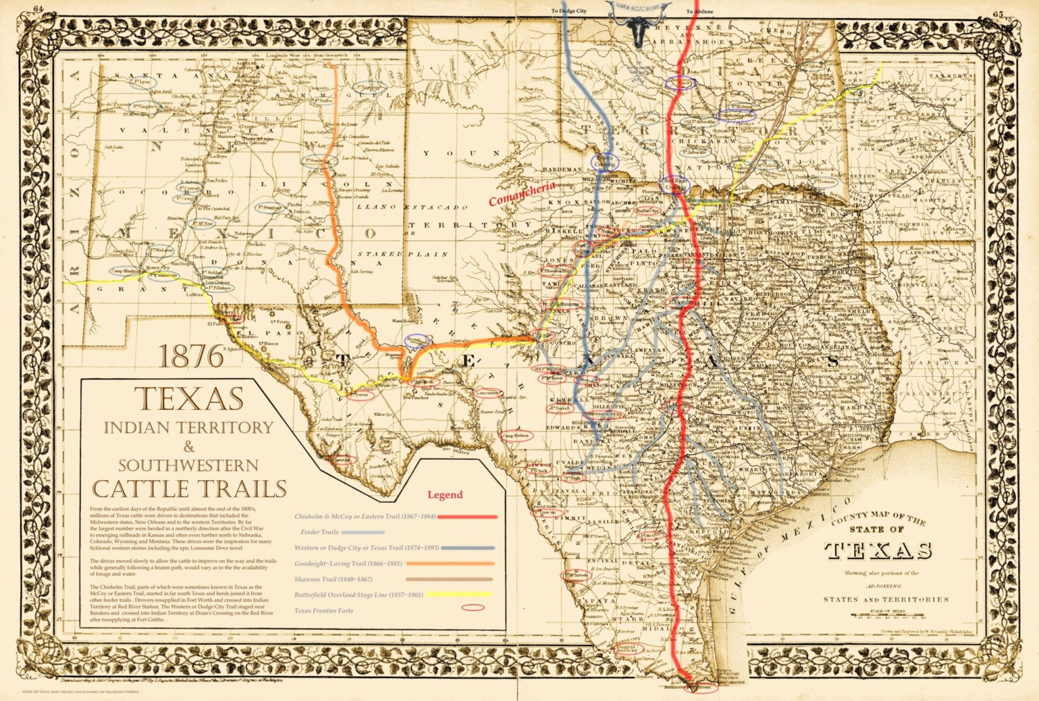 The Great Texas Cattle Trails Map 16 X 20 By
