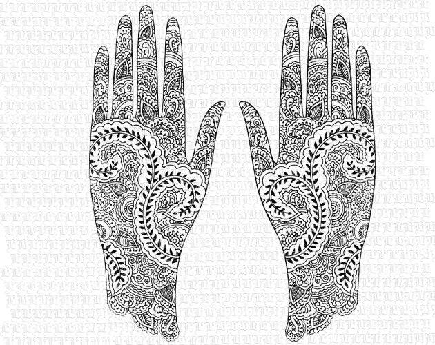Mehndi Hands Clipart : Digital collage sheet hindu mehndi design by