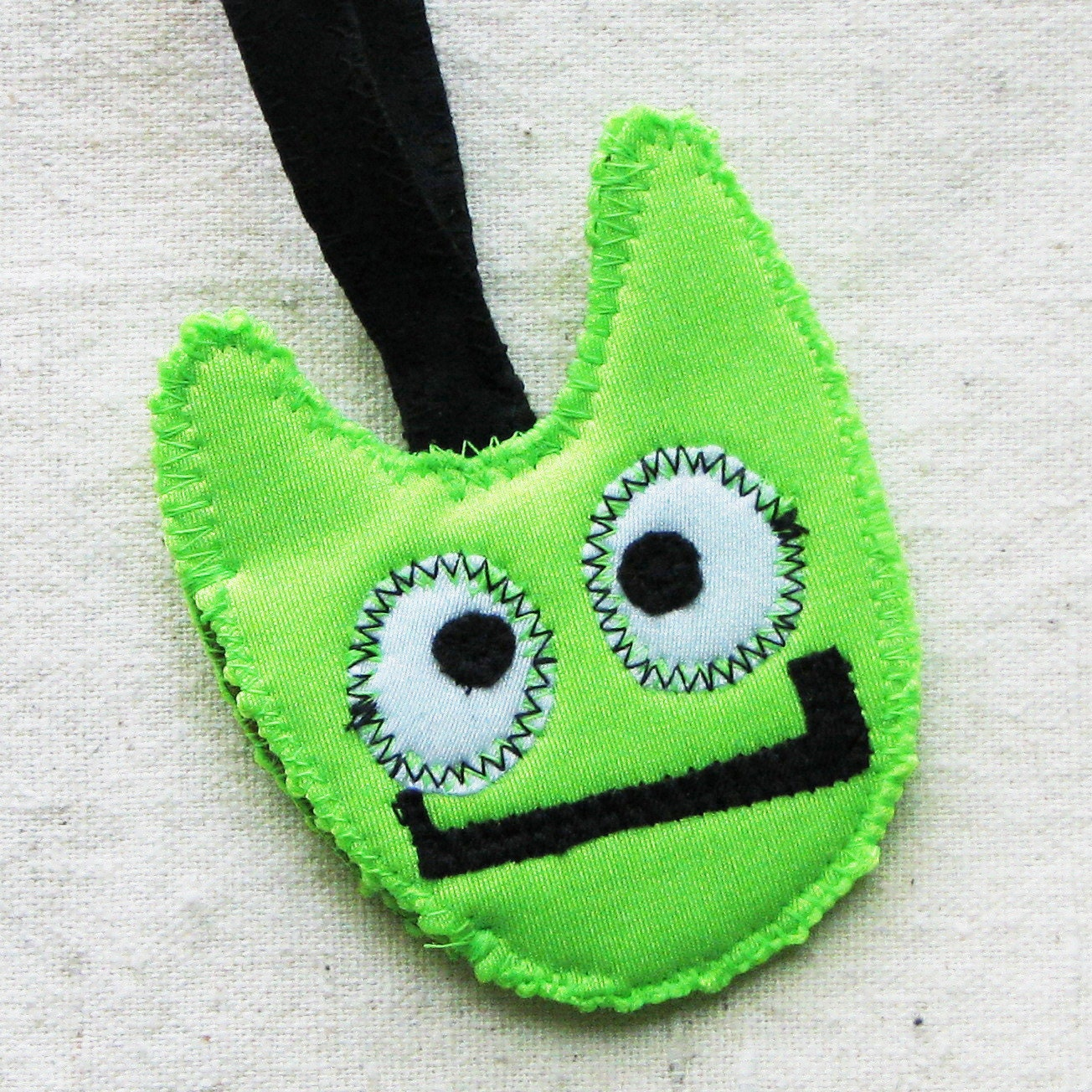 Kids luggage tag - whimsical monster in neon bright lime green fabric