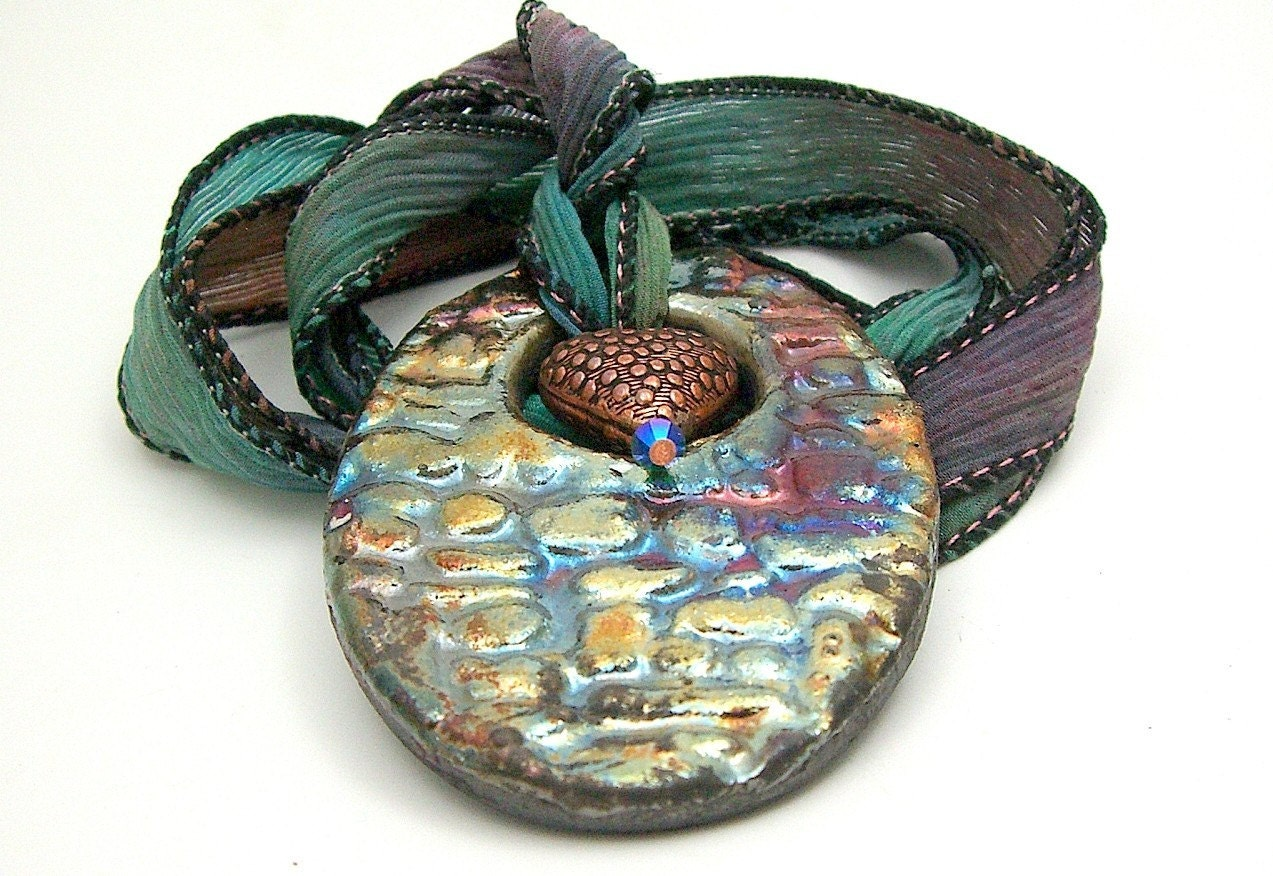 Raku Rainbow Oval Pendant with Copper Heart and Swarovski Crystal on Hand Dyed Silk Ribbon Raku Ceramic Jewelry by MAKUstudio