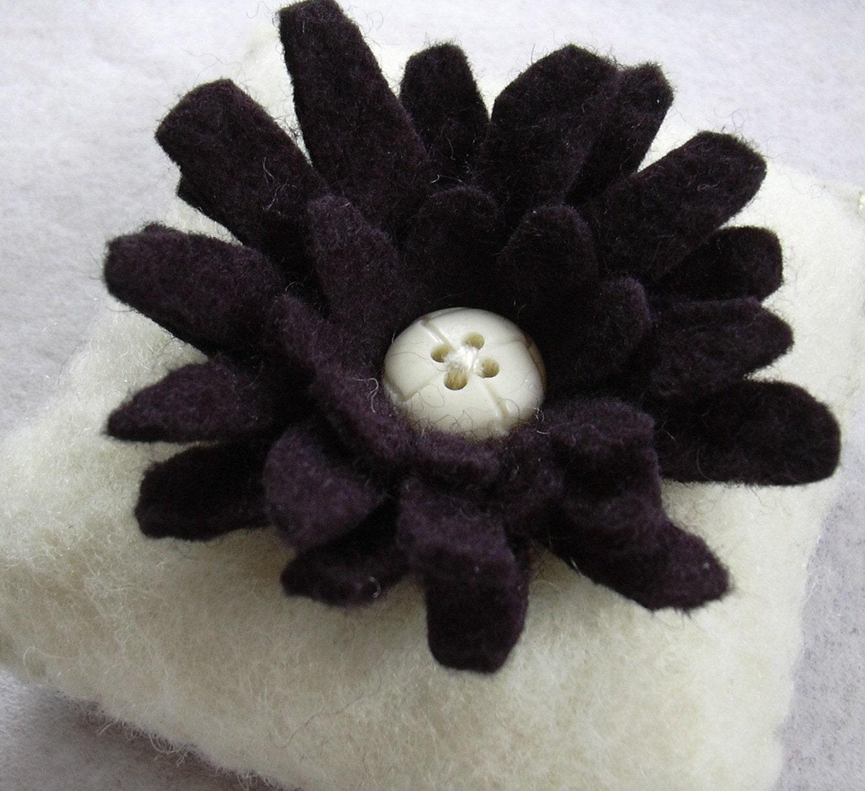 Etsy :: Black and Ivory Felt Flower Pincushion from etsy.com