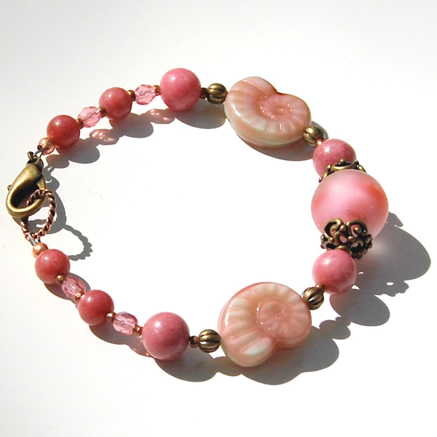 Pink Vintage Bead and Brass Ox Bracelet (Conch Pearl Essence)