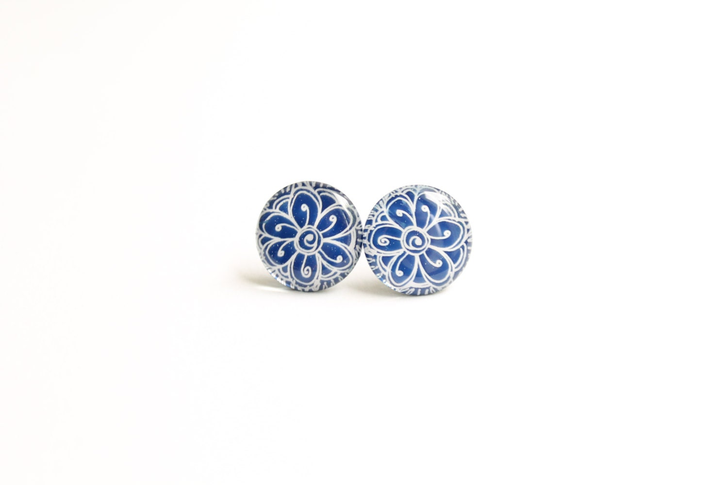 Blue stud earrings, tribal earrings, blue earrings, blue studs, blue europeanstreetteam - Kadrizinha