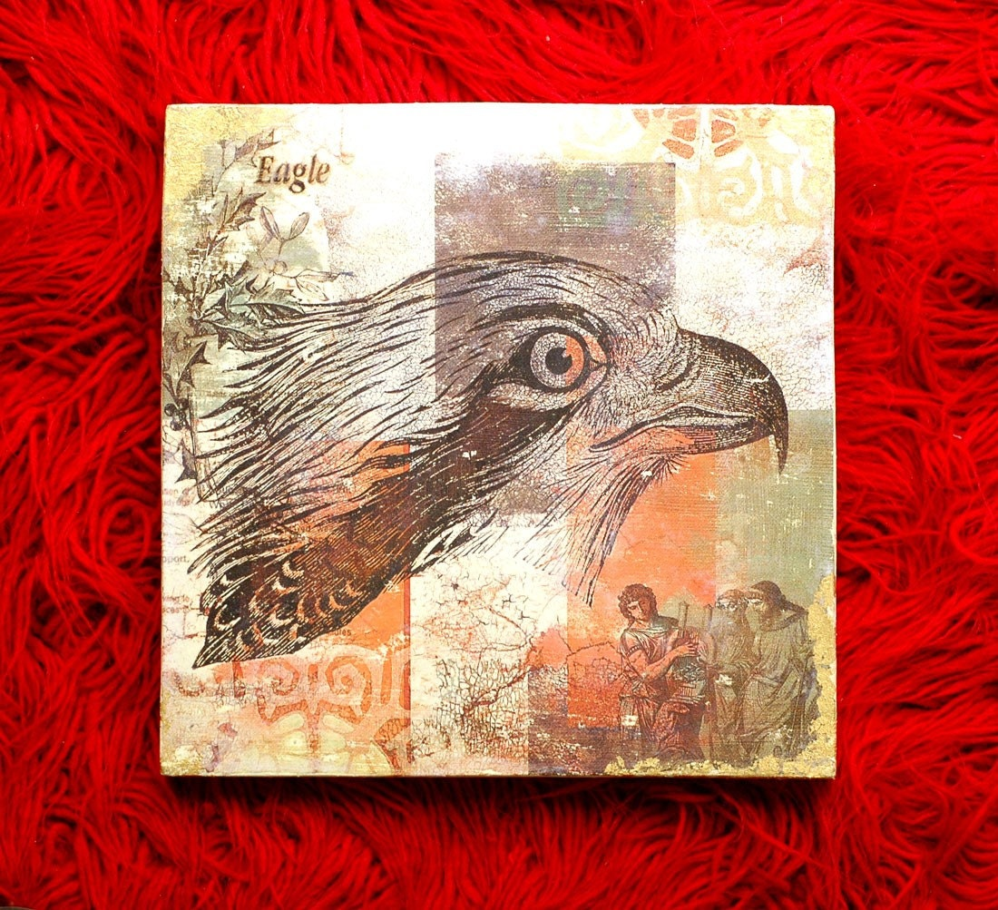 EAGLE EYE - MIXED MEDIA ART ON WOOD PANEL - SIZE 10 INCHES X 10 INCHES - recycled  wood panel - PAINTING ,ACRYLICS,GOLD LEAFING AND silkscreen - One of a Kind Art