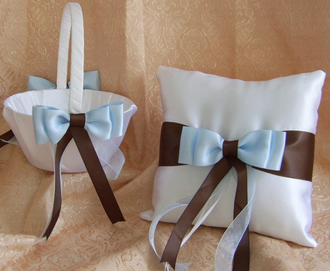 Sabi\'s blog: Chocolate Brown And Blue Wedding Flower Girl Basket ...
