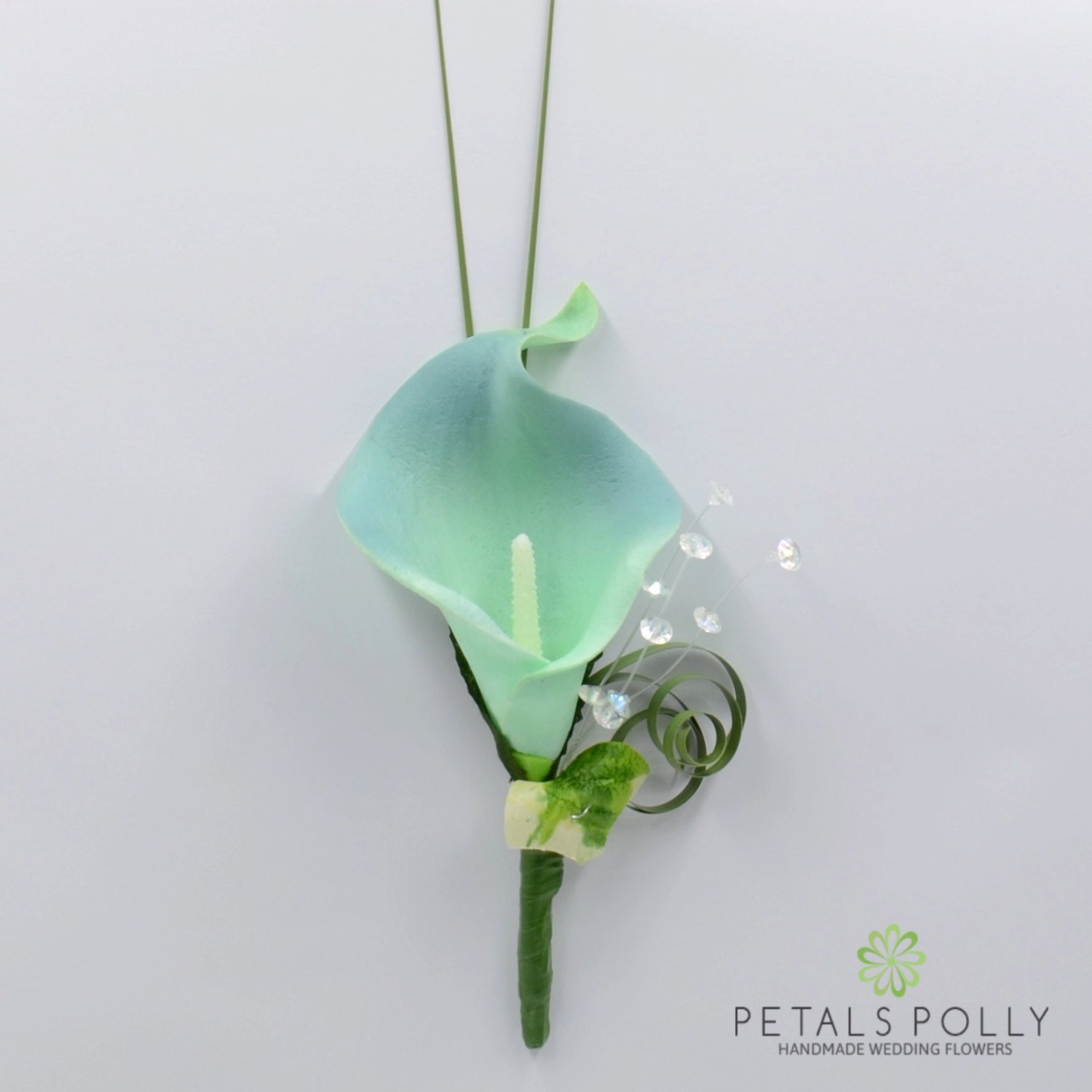 Artificial Wedding Flowers Teal Calla Lily Buttonhole